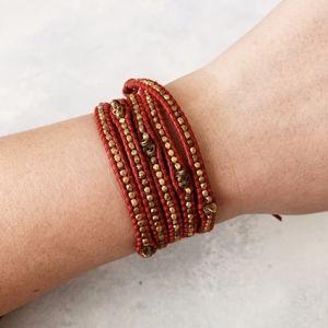 Chan Luu Gold Skull Red Leather Wrap Bracelet